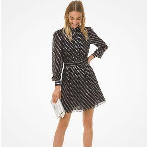 Michael Kors Metalic Stripe Silk Dress
